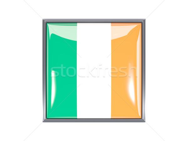 Vierkante icon vlag Ierland metaal frame Stockfoto © MikhailMishchenko