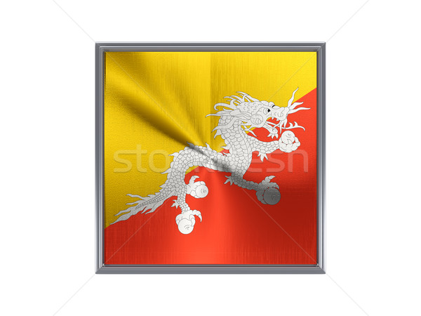 Praça metal botão bandeira Butão isolado Foto stock © MikhailMishchenko