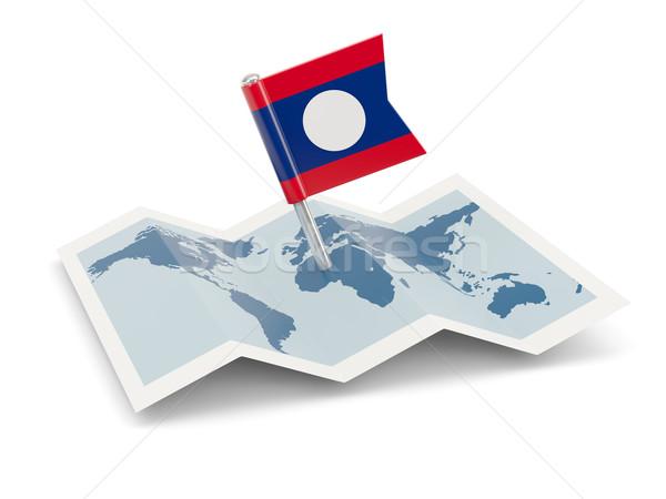 Kaart vlag Laos geïsoleerd witte Stockfoto © MikhailMishchenko