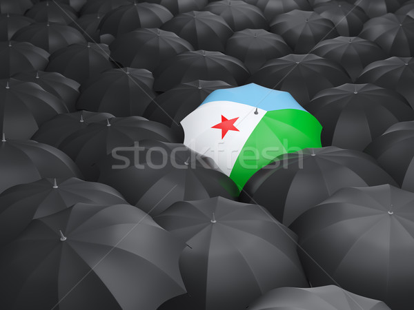 Parasol banderą Dżibuti czarny parasole deszcz Zdjęcia stock © MikhailMishchenko