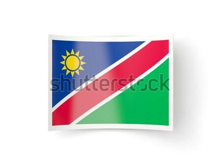 Cuadrados metal botón bandera Namibia aislado Foto stock © MikhailMishchenko