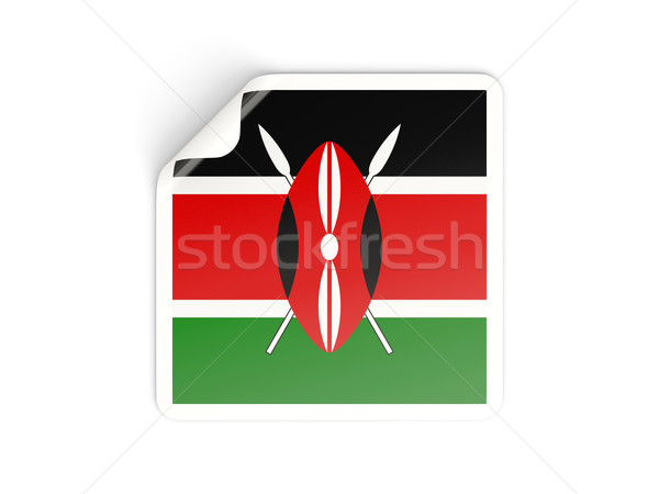 広場 ステッカー フラグ ケニア 孤立した 白 ストックフォト © MikhailMishchenko