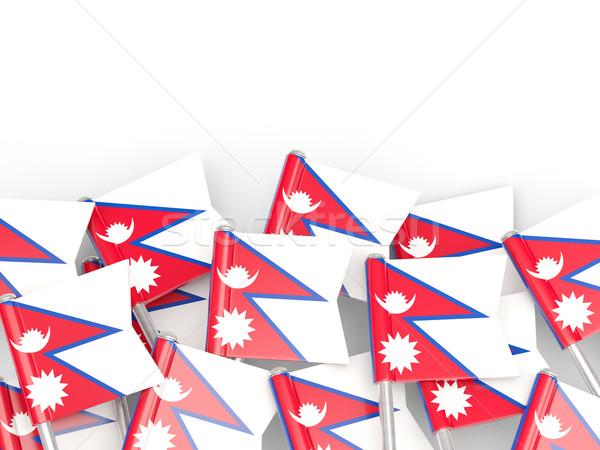 Bayrak pin Nepal yalıtılmış beyaz dünya Stok fotoğraf © MikhailMishchenko