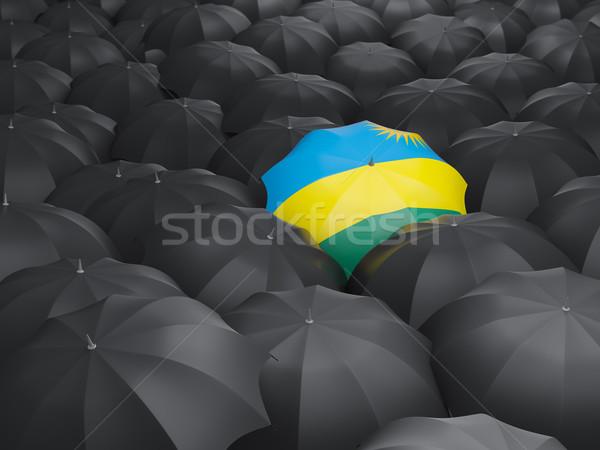Parapluie pavillon Rwanda noir parapluies pays Photo stock © MikhailMishchenko