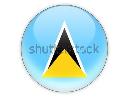 Round button with flag of saint lucia Stock photo © MikhailMishchenko