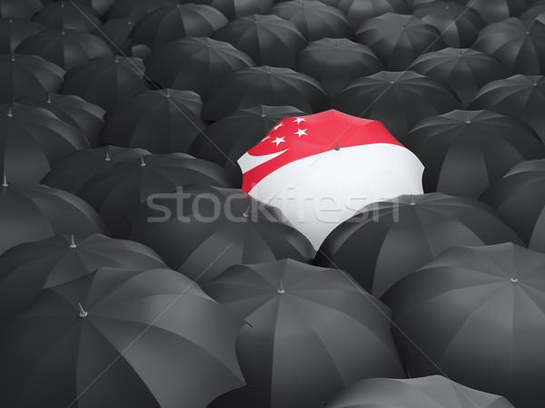 Stok fotoğraf: şemsiye · bayrak · Singapur · siyah · yağmur