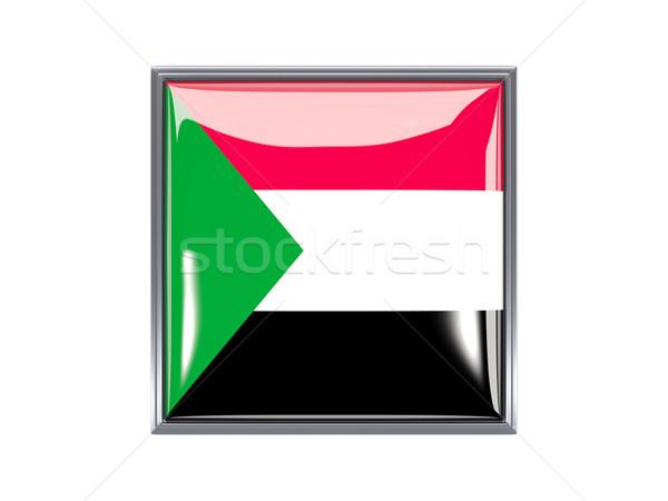 Tér ikon zászló Szudán fém keret Stock fotó © MikhailMishchenko