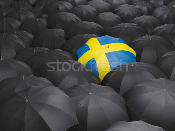 傘 フラグ スウェーデン 黒 傘 旅行 ストックフォト © MikhailMishchenko