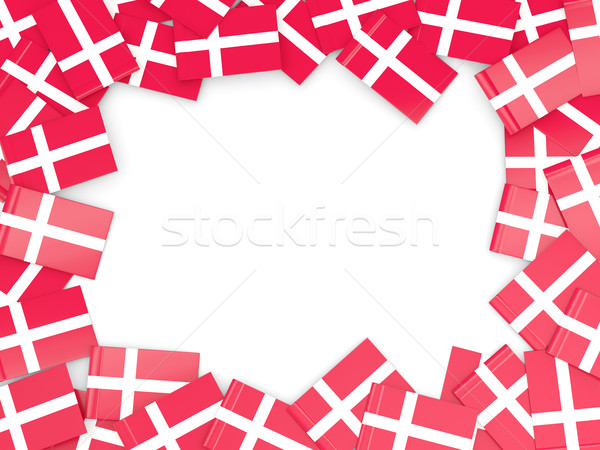 Quadro bandeira Dinamarca isolado branco Foto stock © MikhailMishchenko