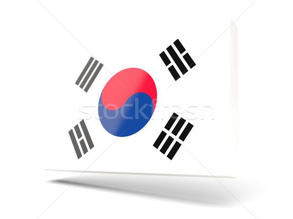 Square icon with flag of korea south Stock photo © MikhailMishchenko