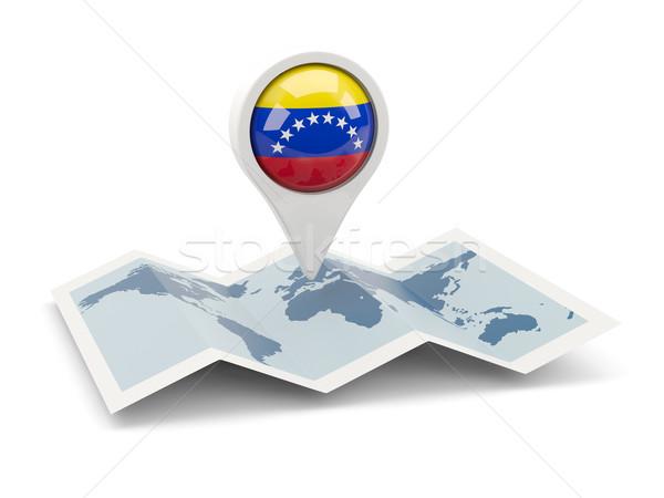 Pin bandeira Venezuela mapa viajar branco Foto stock © MikhailMishchenko