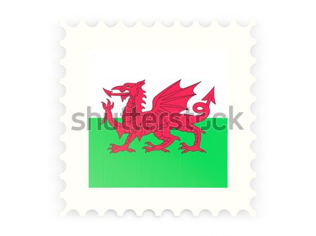 Square metal button with flag of wales Stock photo © MikhailMishchenko