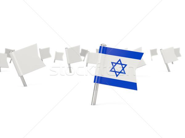 Carré broches pavillon Israël isolé blanche Photo stock © MikhailMishchenko