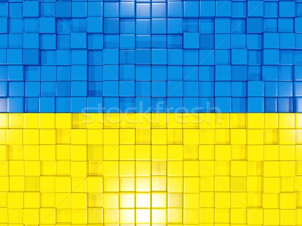 квадратный флаг Украина 3d иллюстрации мозаика Сток-фото © MikhailMishchenko