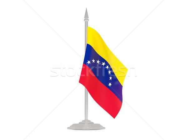 Pavillon Venezuela mât rendu 3d isolé blanche Photo stock © MikhailMishchenko