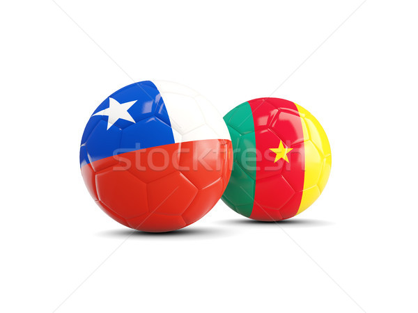 Two footballs with flags of Chile and Cameroon isolated on white Stock photo © MikhailMishchenko