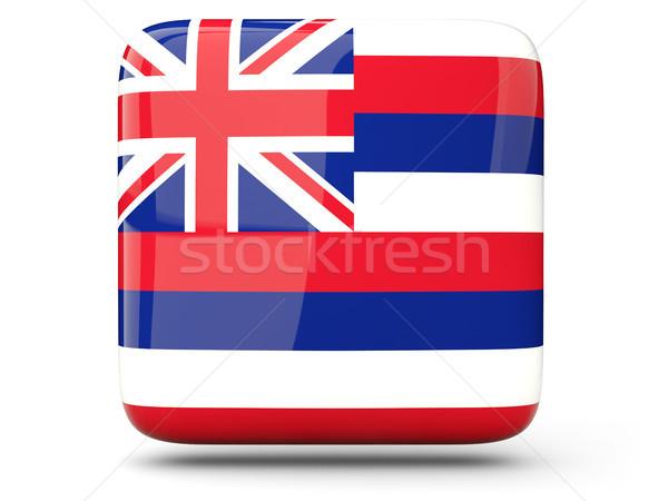 флаг квадратный икона изолированный белый 3d иллюстрации Сток-фото © MikhailMishchenko