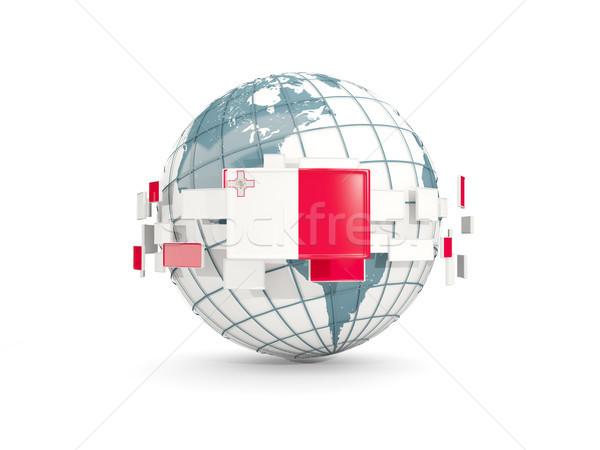 Foto stock: Mundo · bandera · aislado · blanco · 3d · mapa