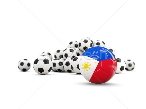 ストックフォト: サッカー · フラグ · 孤立した · 白 · 3次元の図 · スポーツ