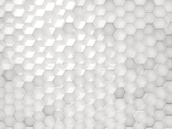 Beyaz endüstriyel altıgen model 3d illustration arka plan Stok fotoğraf © MikhailMishchenko