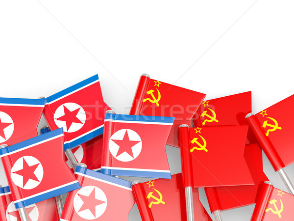 Flag pins of North Korea (DPRK) and USSR isolated on white Stock photo © MikhailMishchenko