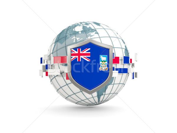 Földgömb pajzs zászló Falkland-szigetek izolált fehér Stock fotó © MikhailMishchenko