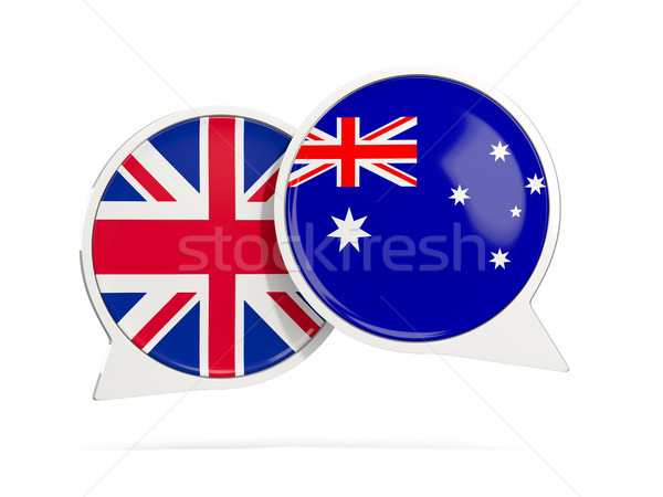 Chat bubbles of UK and Australia isolated on white Stock photo © MikhailMishchenko