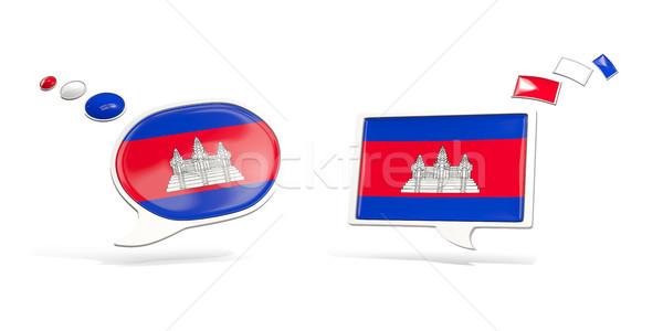 Kettő chat ikonok zászló Kambodzsa tér Stock fotó © MikhailMishchenko