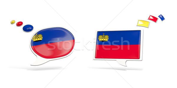Two chat icons with flag of liechtenstein Stock photo © MikhailMishchenko