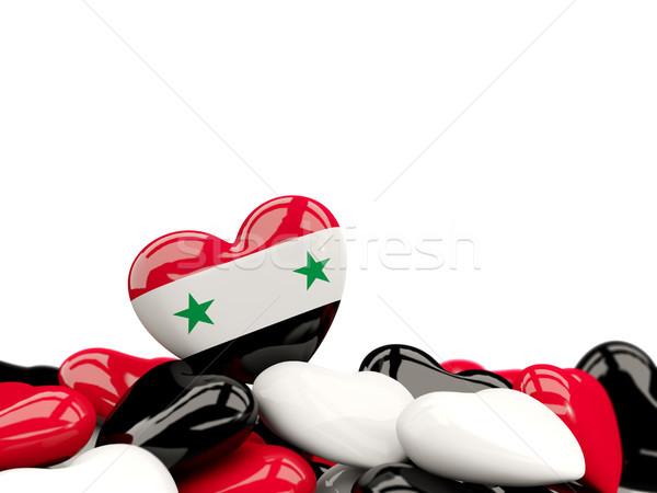 Coração bandeira Síria topo corações isolado Foto stock © MikhailMishchenko