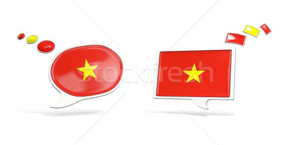 Iki sohbet simgeler bayrak Vietnam kare Stok fotoğraf © MikhailMishchenko