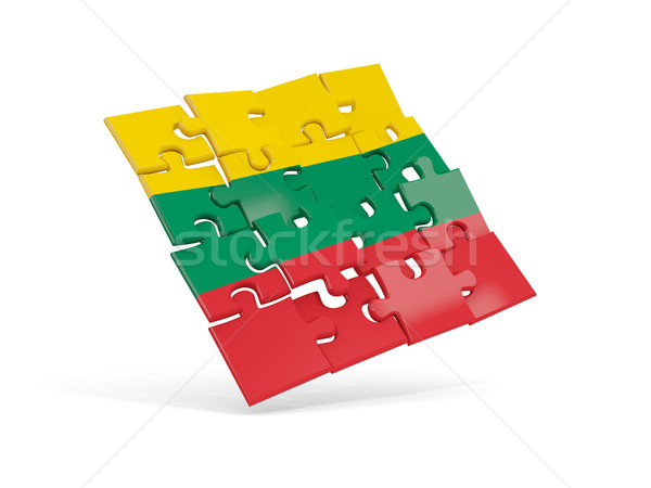 Puzzle pavillon Lituanie isolé blanche 3d illustration Photo stock © MikhailMishchenko