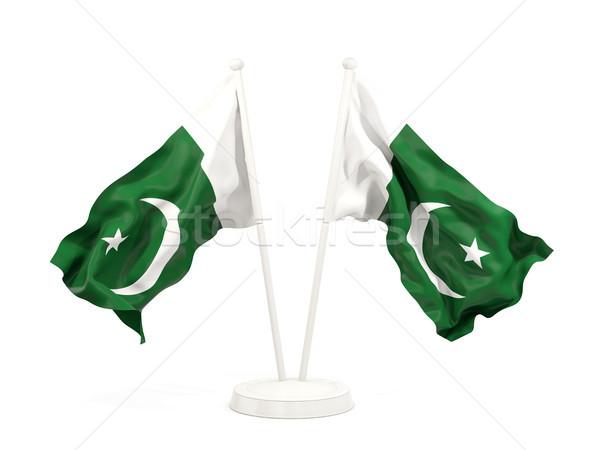 Iki bayraklar Pakistan yalıtılmış beyaz Stok fotoğraf © MikhailMishchenko