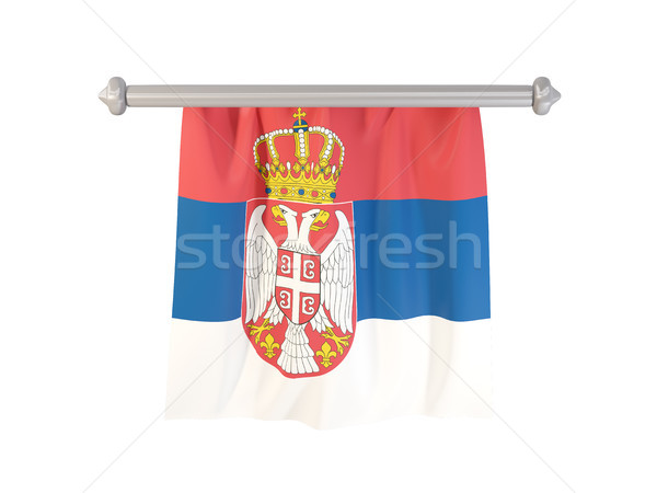 Bandera Serbia aislado blanco 3d etiqueta Foto stock © MikhailMishchenko