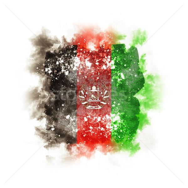Square grunge flag of afghanistan Stock photo © MikhailMishchenko