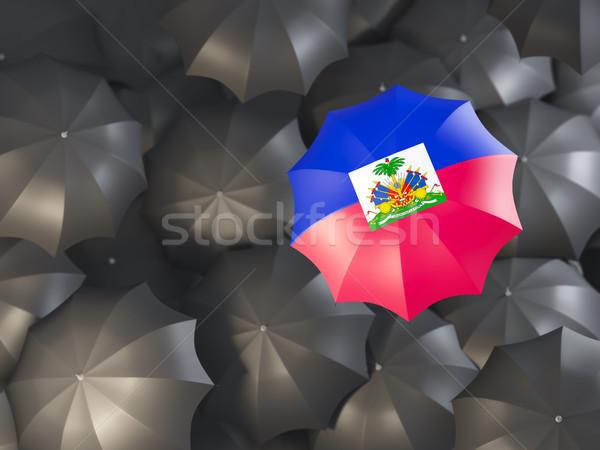 şemsiye bayrak Haiti üst siyah Stok fotoğraf © MikhailMishchenko