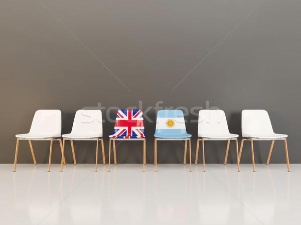Chaises pavillon Royaume-Uni Argentine rangée 3d illustration Photo stock © MikhailMishchenko