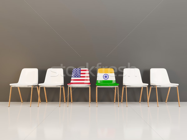 Chairs with flag of usa and india Stock photo © MikhailMishchenko