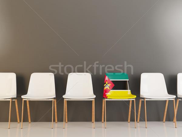 Cadeira bandeira Moçambique branco cadeiras Foto stock © MikhailMishchenko