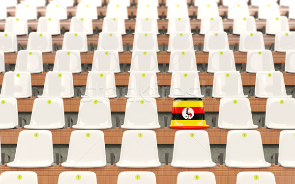Stock fotó: Stadion · ülés · zászló · Uganda · csetepaté · fehér