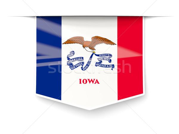 Айова флаг квадратный Label тень Соединенные Штаты Сток-фото © MikhailMishchenko