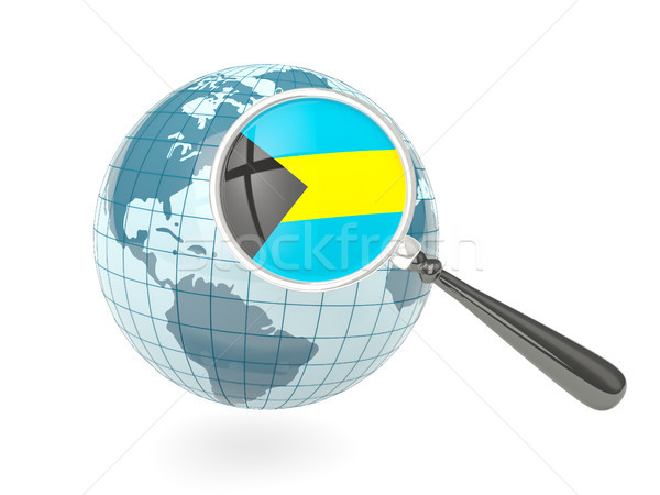 Magnified flag of bahamas with blue globe Stock photo © MikhailMishchenko