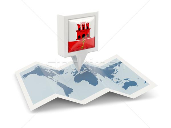 Placu pin banderą gibraltar Pokaż podróży Zdjęcia stock © MikhailMishchenko