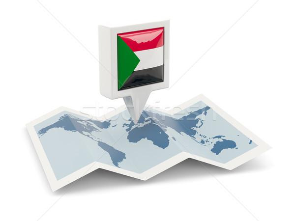 Placu pin banderą Sudan Pokaż podróży Zdjęcia stock © MikhailMishchenko