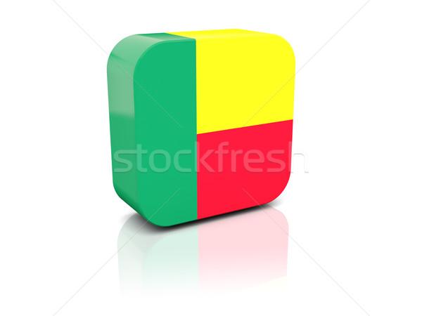 Piazza icona bandiera Benin riflessione bianco Foto d'archivio © MikhailMishchenko
