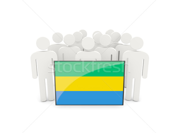 люди флаг Габон изолированный белый толпа Сток-фото © MikhailMishchenko