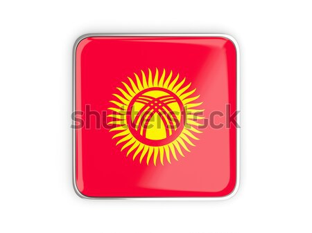 Vierkante metaal knop vlag Kirgizië geïsoleerd Stockfoto © MikhailMishchenko