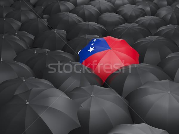 Paraplu vlag Samoa zwarte parasols reizen Stockfoto © MikhailMishchenko