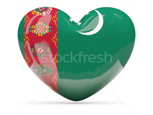 Szív alakú ikon zászló Türkmenisztán izolált Stock fotó © MikhailMishchenko