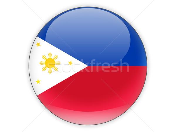 Ikona banderą Filipiny odizolowany biały podróży Zdjęcia stock © MikhailMishchenko